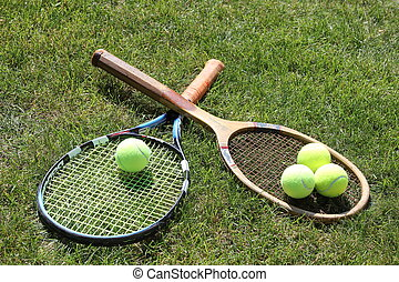 Old and new tennis rackets - Vintage and new tennis rackets...