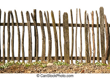 old and rough wooden fence on white background