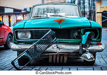 Old and rusty abandoned car
