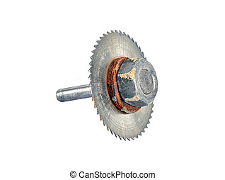 Old and rusty milling cutter, isolated on a white background
