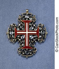 Old and vintage Diamond brooch with Maltese cross