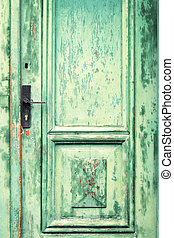 Old and weathered green door texture