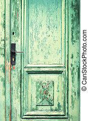 Old and weathered green door texture