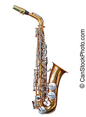 Old and well used saxophone isolated on white with clipping path