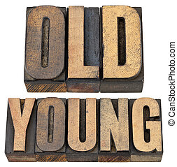 old and young in letterpress wood type