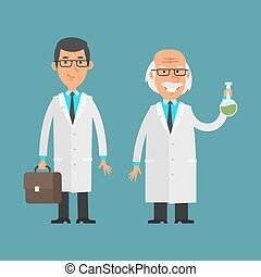 Old and young scientist standing and smiling