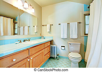 Old antique bathroom with blue tiles.