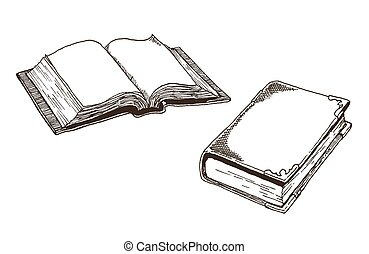 Old Antique Books - Vector drawings of an open book and a...