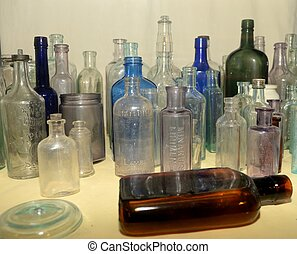 Old Antique Bottles - A collection of old bottles from a...
