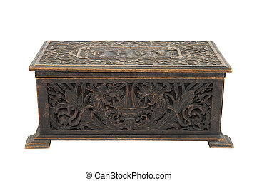 Old antique box with clipping path