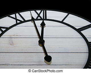 Old antique clock face and hands close-up detail.