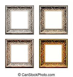 old antique frame set over white background. Gold, silver...