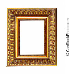 Old antique gold picture frame with a decorative pattern isolated over white background