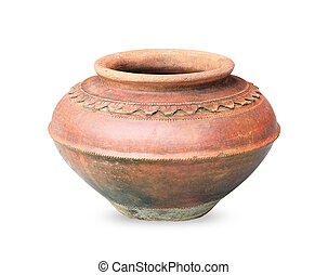 Old antique pot on white background