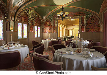 Old antique restaurant interior, with decorations. - Old...