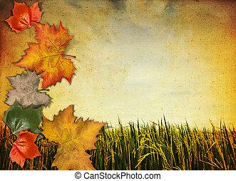 old antique vintage paper background with autumn leaf