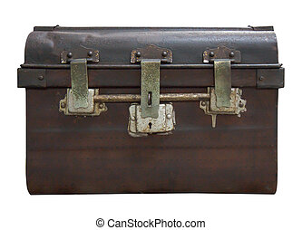 Old Antique Vintage Trunk Isolated