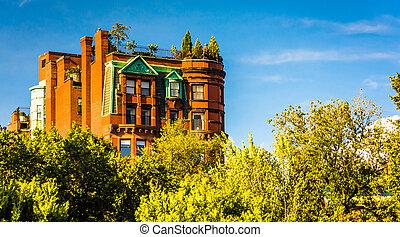 Old apartment building in Boston, Massachusetts.