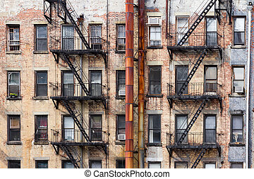 Old Apartment Buildings in New York City - Old dirty...