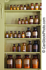 Old apothecary cabinet with storage jars with Latin labels