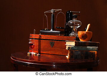 old apothecary tools - old pharmacist?s stuff, bottles,...