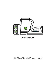 Old appliances and e-waste recycle concept icon in line...