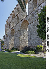 Old aqueduct in city of Kavala, Greece
