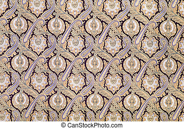 Old arabesque style ornament - Brown background textile with...