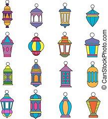 Old arabic light lamp set. Muslim Ramadan lanterns vector illustration