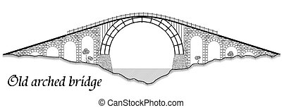 Old arched bridge made of stone and steel. Silhouette of a tall structure over a river. A black graphic drawing similar to an engraving.