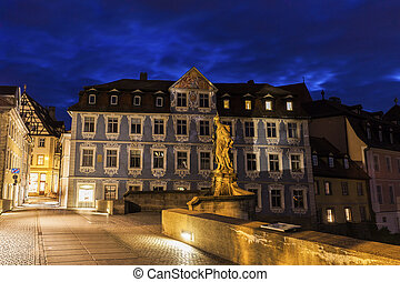 Old architecture and bridge of Old Town in Bamberg