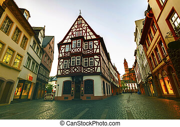Old Architecture Houses In The Center Of Mainz City Near Frankfurt Am Main Germany