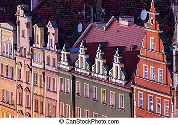 Old architecture of Market Square in Wroclaw