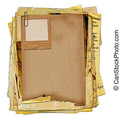 Old archive with letters, photos on the white isolated background