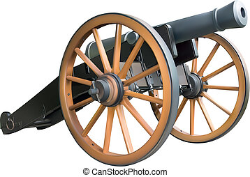 Old artillery cannon over white background