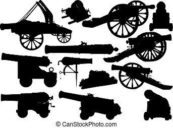 Set of black silhouettes of varied medieval artillery siege of fortress and sea