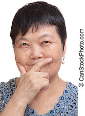 old asian woman thinking
