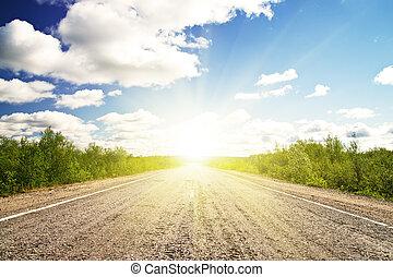 Old asphalt road in green sunset meadow