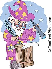 Old Astrologer Illustration - Old Astrologer with pen and...