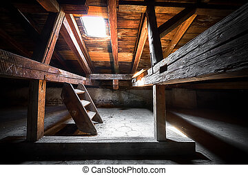 the attic of an old building, detail