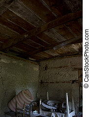 old attic with and ceiling with wooden beam