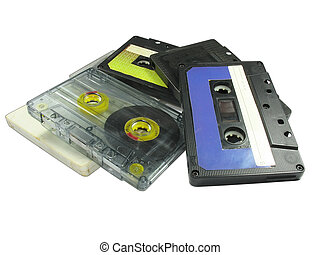 Old audio cassettes isolated over white background