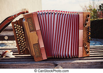 Old Austrian Accordion - One old Austrian accordion, details...
