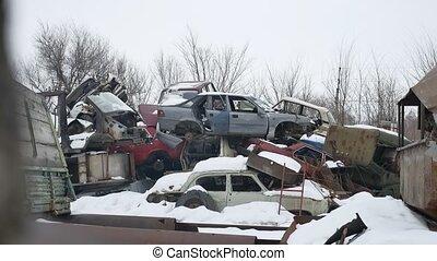 old auto scrap metal dump abandoned landfill disposal video...