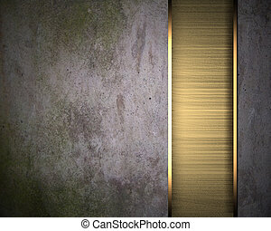 Old Background wall with gold metal framework