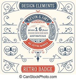 Old Badge. Baroque Ornaments. Design Elements