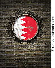 Old Bahrain flag in brick wall