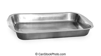 Old baking pan isolated on white