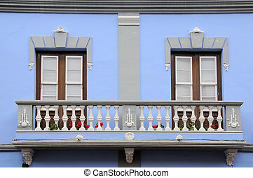 Old balcony in La Laguna, Tenerife, Spain - Old ancient...