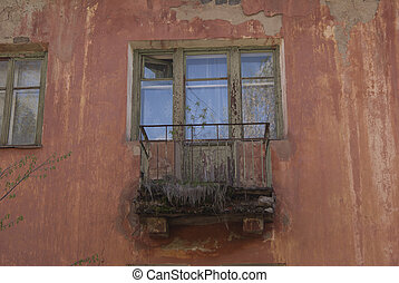 old balcony of the abandoned house